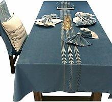 XYCZG-Bestickte Tischdecken Grau Grün Einfaches