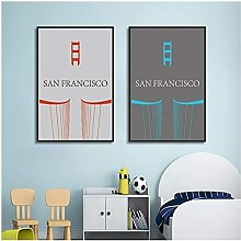 XYYCZ Kunstposter Modern San Francisco Home Letter