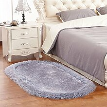 XYZ Einfache Solide Ovaler Teppich, langhaarig, Hochzeitszimmer Schlafzimmer Bed Rug Pad, Matte exquisit ( farbe : 2 , größe : 0.8*1.6m )