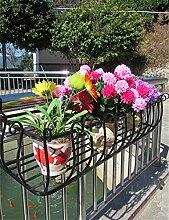 XYZ Eisen-Geländer Blumen-Topf-Regale, Hängepflanzen-Regal, Wand-Blumenständer für Balkon Empfindlich haltbar ( farbe : Schwarz , größe : L-60cm )