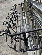 XYZ Eisen-Geländer Blumentopf Regale, hängende Pflanze Regal, Wand-Blumen-Regale für Balkon Empfindlich haltbar ( farbe : Schwarz , größe : L-56cm )