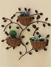 XYZ Europäische kreative Eisen-Wand-hängende Blumen-Zahnstangen, hängende Blumen-Töpfe Regal, Innenwand-Dekoration-Blumen-Halter Empfindlich haltbar ( farbe : Bronze )