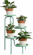 XYZ European-Stil Creative Iron Floor Blumentöpfe Regal hält 4-Blumentopf für Balkon, Wohnzimmer, Indoor, Werk Stand Shelf Empfindlich haltbar ( farbe : Grün )