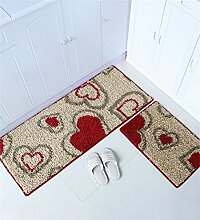 XYZ Haushalt Teppich Die Tür Küche Streifen rutschfeste Matte Wasseraufnahme Hand waschbar Teppich 2 Stück exquisit ( farbe : D , größe : 40cm X 60cm+50cmx120cm )