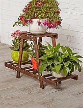 XYZ Massivholz 2-tier Boden Blumentopf Regal, Pflanzen stehen, Blumenregal für Wohnzimmer, Balkon, Interieur Empfindlich haltbar ( farbe : A )