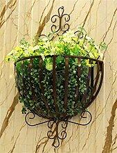 XYZ Pastoral Eisen Wand Hängende Korb Blumentöpfe Rack für Wohnzimmer, Balkon, Wall Hanging Flower Pot Regal Empfindlich haltbar ( farbe : Bronze )