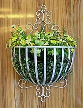 XYZ Pastoral Eisen Wand Hängende Korb Blumentöpfe Rack für Wohnzimmer, Balkon, Wall Hanging Flower Pot Regal Empfindlich haltbar ( farbe : Weiß )