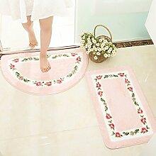 XYZHF*Boden Mat Eingang Halle WC Schlafzimmer Tür Mat Bad Bad Bad Bad rutschfeste pad Haushalt 50 * 80cm Rectangle: Pink