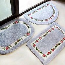 XYZHF*Eine Tür Matte Matte pastorale Bad Sanitär Saugkissen Toilette WC Tür Rutschen Fussmatten 50 * 80cm Semicircle: Blue