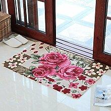 XYZHF*Rose Blume Pad Pad Schlafzimmer Küche Bad Tür Fußmatte mat saugfähige Matte 49 * 79cm Pink