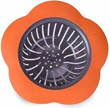 XYZS Küche Ablauf Haarsieb, Bad Stopper Becken Sieb Filter reinigen nie wieder ein Verstopft Ablauf Orange