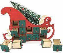 Xzbnwuviei Weihnachten Advent Tag Holzschlitten
