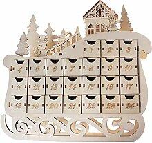 Xzbnwuviei Weihnachten LED Holz Schlitten