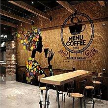 XZDXR Foto Retro Tapete Kaffee Schönheit Wandbild