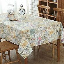 XZX Home Baumwolle und Leinen Karte Stichmuster Tischdecke , 140*220