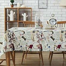 XZX Home Baumwolle und Leinen Turm Muster Tischdecke , 70*70