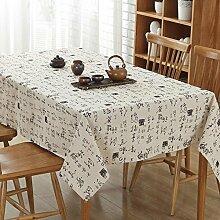 XZX Home Chinese Character Muster Baumwolle und Leinen Tischdecke , white , 140*200