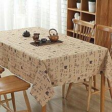 XZX Home Chinese Character Muster Baumwolle und Leinen Tischdecke , beige , 140*250