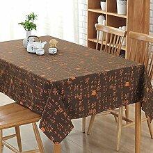 XZX Home Chinese Character Muster Baumwolle und Leinen Tischdecke , coffee , 100*140