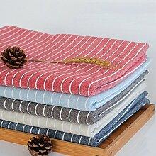 XZX Home Einfache Streifen Einfache Baumwolle Leinen Küche Oblong-Platz Tischdecke, 90*90cm, coffee stripe