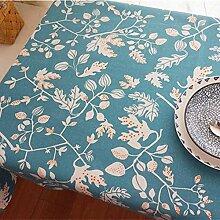 XZX Home Nordic-Art-Blau-Blumen-Leinwand Tischdecke , 140*220cm , blue