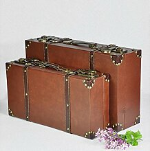 XZX Home Retro Klassik Lederkoffer Dekoration Fotografie-Werkzeuge Brown Leather Buckle Storage Box Set , se