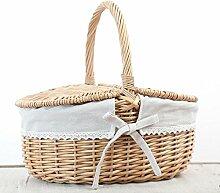 XZX Home Wicker Woven Obst Picknick-Korb Hamper , round , beige