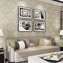 xzzj 3D Ultra-stereo Continental im Landhausstil Vlies Tapete Schlafzimmer Wohnzimmer Sofa tv Hintergrundbild, p 4-04703 Hellgrau, nur Wallpaper