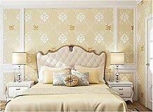 Xzzj Eine Idyllische Continental Floralen Skulpturen Fein Geprägtem Stereoskopische 3D-Vlies Tapete Schlafzimmer Gemütliches Wohnzimmer Wand Zu Wand Papier, Beige