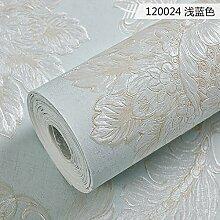xzzj Kontinental geprägtes Wohnzimmer Schlafzimmer Tapete, Grün Hellblau, nur Wallpaper