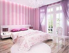 Xzzj Moderne Und Minimalistische Koreanischen Gestreifte Tapete Pink Princess Kinder Zimmer Einladend Mädchen Schlafzimmer Sind Vlies Tapete, Rosa