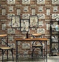 Xzzj Sepia Bricks Firewall Brick Brick Block Schreiben Radfahren Fahrrad Wallpaper Charakter Dining Cafe Geschäfte, Braune Tapete