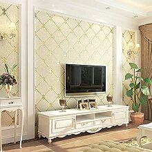 Xzzj Tv-Wand Papier Dick Hintergrund 3D Grün Schlafzimmer Wohnzimmer Mit Einfachen Und Modernen Vlies Tapete, Beige