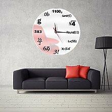 Y-Hui kaufen Diy mathematische Formel Acryl Mirror Wall Clock Clock Wohnzimmer Schlafzimmer dekorative Wanduhr, 14 cm, weiß + Schwarz auf Weiß.