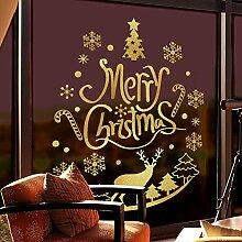 Y-Hui Weihnachtsverzierungen Geschäfte schmücken Szene Tür Glas Fenster Wand Aufkleber Goldenen Hirsch Weihnachten, Weihnachten Gold Medium