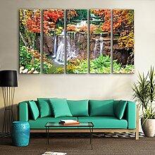 Y&M 5PCS ausgedehnte Segeltuch-Kunst-Herbst-Blätter unter dem Wasserfall-Dekoration-Malerei-Satz , 24*70*5