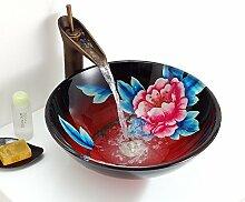 Y&M Bad Waschbecken,Chinesischen Stil gemalt