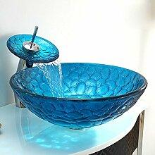 Y&M Bad Waschbecken,Kunst blau gehärtetes Glas