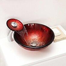Y&M Bad Waschbecken,Rote Runde gehärtetes Glas