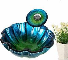 Y&M Bad Waschbecken,Schale aus gehärtetem Glas