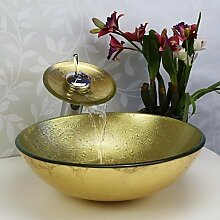 Y&M Badezimmer Waschbecken Sets, Glaswaschbecken,