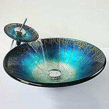 Y&M Blauer Hut-förmigen gehärtetes Glas Waschbecken und Wasserfall Wasserhahn, Pop-Drain und montieren Sie den ring
