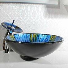 Y&M Blaues rundes gehärtetes Glaswaschbecken, Wasserfallhahn