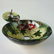 Y&M Blume-Runde gehärtetes Glas Waschbecken und Wasserfall Wasserhahn, Pop-Drain und montieren Sie den ring