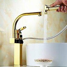 Y&M Einzelhandgriff Gold ausziehbar Küchenarmatur
