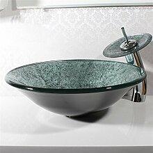 Y & M grau Das Material Kühlkörper rund ist ein Bad Waschbecken aus gehärtetem Glas