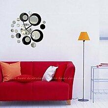 Y&M High-End-Mode kreative DIY Acrylspiegel Wandfarbe Poster Runde Wanduhr , black