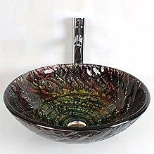 Y&M Moderne Badezimmer runden gehärtetes Glas set Waschbecken