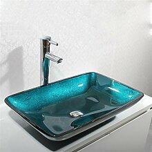 Y&M Rechteckiges gehärtetes Glas-Waschbecken mit Wasserfall-Wasserhahn Pop-Up-Abfluss und Montagering