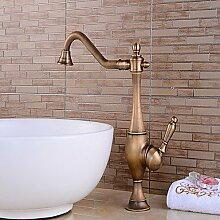 Y&M Waschbecken Wasserhahn,Antiken Centerset drehbar mit Keramik Ventil Griff eine Einzelbohrung für antikes Kupfer, Küchenarmatur